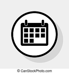 Calendar sign illustration. Vector. Flat black icon in white circle with shadow at gray background.
