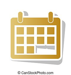 Calendar sign illustration. Vector. Golden gradient icon with wh