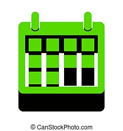 Calendar sign illustration. Vector. Green 3d icon with black sid