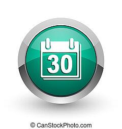 Calendar silver metallic chrome web design green round internet icon with shadow on white background.