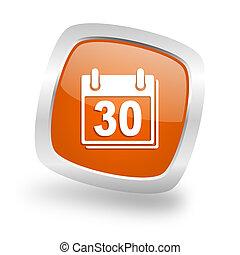 calendar square orange glossy chrome silver metallic web icon