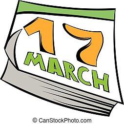 Calendar St Patrick Day icon, icon cartoon