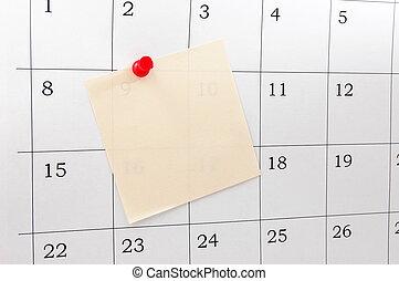 calendar - close up of a simple calendar page....
