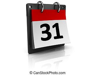 calendar - 3d illustraton of generic calendar over white...