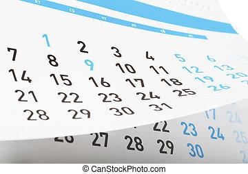 Calendar - Closeup view of pages of tear-off calendar