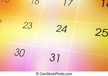 Calendar page on color background