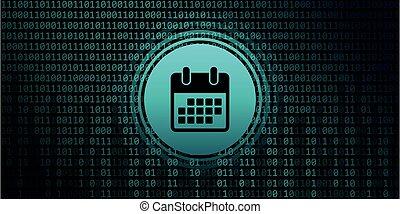 calendar symbol on binary code background digital data