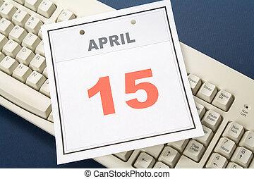 Calendar Tax Day - Tax Day, calendar date April 15 and ...