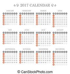 Calendar Template for 2017 on White Background. Vector