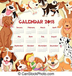 Calendar template for 2018 with many cute dogs