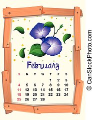 Calendar template for February with morning glory...