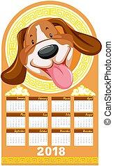 Calendar template with cute dog