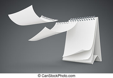 calendar template with flying blank pages - calendar...