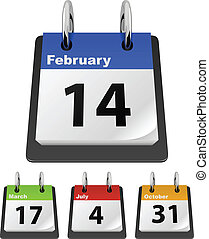 Calendar template with sample dates %u2013 Valentine%u2019s Day, Saint Patrick%u2019s Day, Independence Day, Halloween.