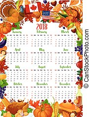 Calendar template with Thanksgiving holiday frame