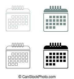 Calendar the black and grey color set icon .