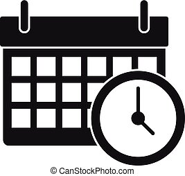 Calendar time clock icon, simple style