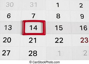 Calendar to Valentines day