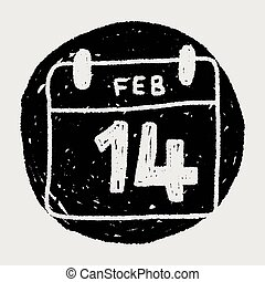 calendar valentine's day doodle drawing