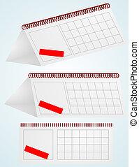 calendar., vecteur, illustration., bureau