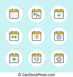Calendar Vector Icons Set - Calendar Icons Vector Set. Time...