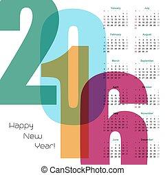 calendar., vector, illustratie, jaar