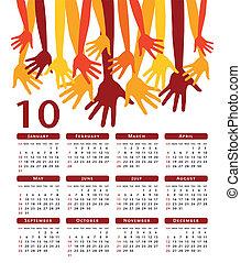 calendar., vetorial, feliz, mãos