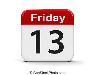 13th Friday - Calendar web button - 13th Friday, three-...