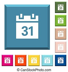 Calendar white icons on edged square buttons