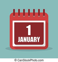 Calendar with 1 january in a flat design. Vector...