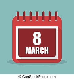 Calendar with 8 march in a flat design. Vector illustration