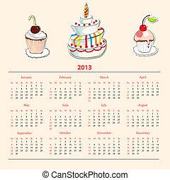 Calendar with cake