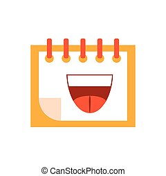 calendar with cartoon mouth, flat style icon