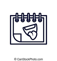calendar with cartoon mouth, line style icon