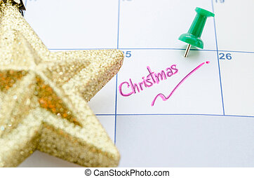 Calendar with christmas day.