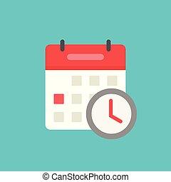 Calendar with clock icon vector symbol isolated, flat cartoon schedule or agenda concept, idea of event in organizer clipart