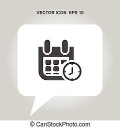 calendar with clock vector icon