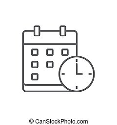 Calendar with clock vector icon symbol isolated on white background