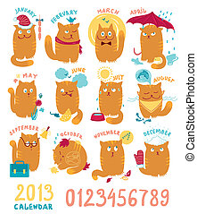 Calendar With Cute Bright Cats - Playful cats in different...
