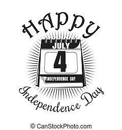 Calendar with date - 4th of July. Independence Day