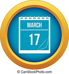 Calendar with date of March 17 icon blue vector isolated