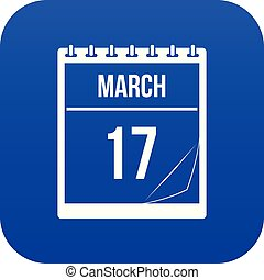Calendar with date of March 17 icon digital blue