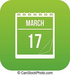 Calendar with date of March 17 icon digital green