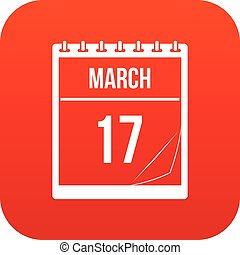 Calendar with date of March 17 icon digital red