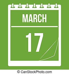 Calendar with date of March 17 icon green