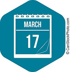 Calendar with date of March 17 icon, simple style