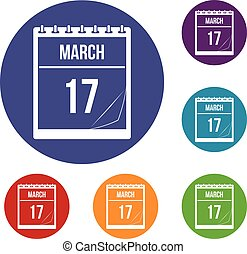 Calendar with date of March 17 icons set