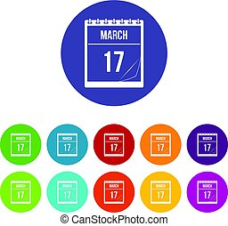 Calendar with date of March 17 icons set flat