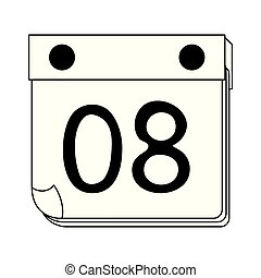 Calendar with day eight symbol cartoon in black and white