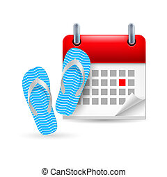Calendar with flip flops - Page calendar with a marked...